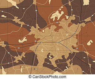 Brown map - Detailed editable vector generic map with no...