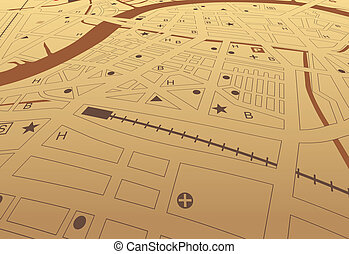 Brown streetmap - Editable vector streetmap of a generic...