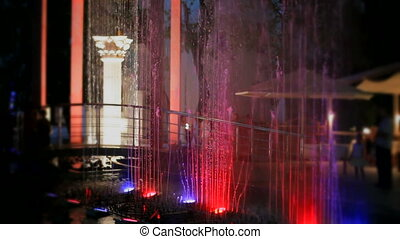 Fountains with red blue backlight