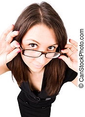 Businesswoman with eyeglasses wide angle portrait