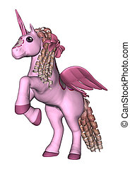 3D Rendering Pink Unicorn on White - 3D rendering of a pink...