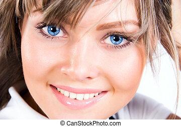 retrato, mujer, joven, feliz