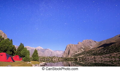 Milky Way in the mountains. Time Lapse. Pamir, Tajikistan....