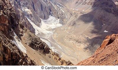 Shadows on the mountain slopes. Time Lapse. Fans, Tajikistan