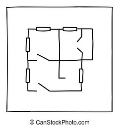 Doodle apartment floorplan icon. Black and white symbol with...