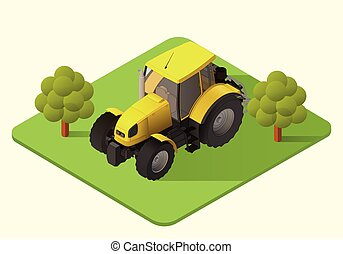 tractor farm machine - tractor vector isometric...