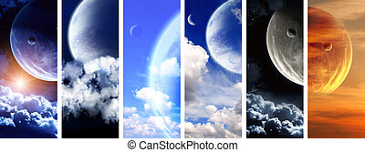 Collection of space banners - Set of vertical space banners...
