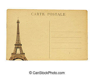 Vintage french post card with famous Eiffel tower in Paris....