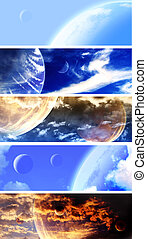 Collection of space banners - Set of horizontal space...