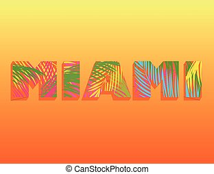 Hot Miami print with colorful palm leaves