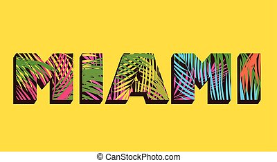 Miami print with colorful palm leaves