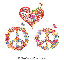 Print with hippie symbolic, colorful peace flower symbol and floral heart shape