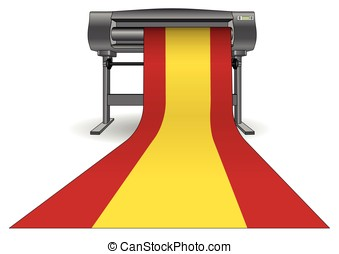 plotter printing large spain flag - Plotter printing a large...