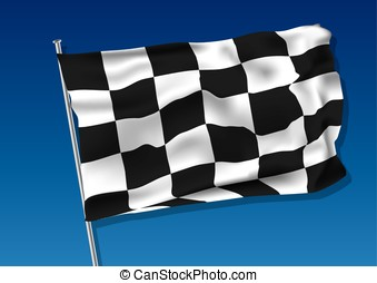 Chequered flag vector - Chequered flag waving on the sky....