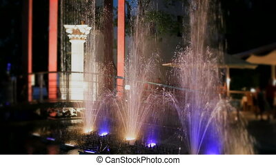 Dancing fountains with lighting