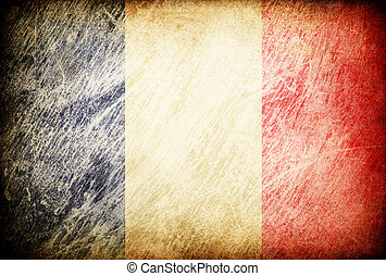 Grunge rubbed flag series of backgrounds. France.