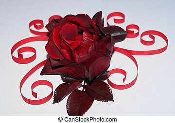 Dark red rose and quilling paper