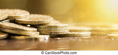Golden money banner - Website banner of golden money coins