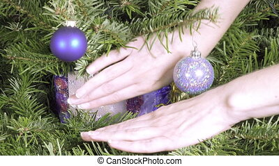 female hands find a New Year's gift lies among branches of a...