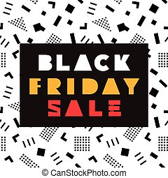 Black Friday Sale modern banner template in Memphis Style....