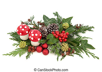 Christmas Decoration - Christmas decorative display with red...