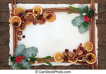 Christmas Fruit Spice and Floral Border