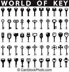 Keys icons on a white background with a shadow