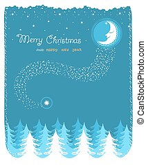winter  landscape with nice moon and forest.Vector christmas card