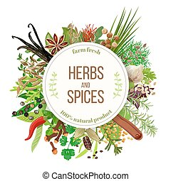 Culinary herbs and spices big set with round emblem. Bunch...