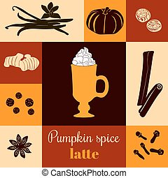 Pumpkin spice latte on colored background