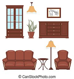Furniture vector set - Set of Furniture. Bookcase, armchair,...