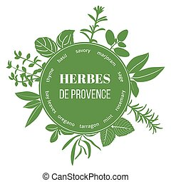 Herbes de Provence flat silhouettes. Vector set of spice...
