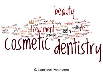 Cosmetic dentistry word cloud concept
