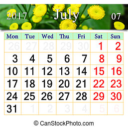 calendar for July 2017 with yellow camomiles - calendar for...