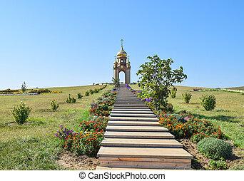 cossack, ortodoxo, primero, ataman, aldea, colina,...