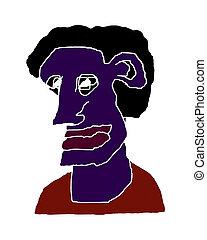 retrato, caricatura, aislado, Ilustración, hombre