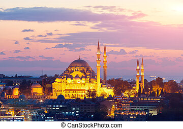 The historic center of Istanbul at sunset. Turkey. - The...