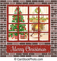 Christmas room postcard. With fireplace, christmas tree through the window.