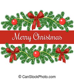 Merry christmas greetings. xmas tree garlands with red...