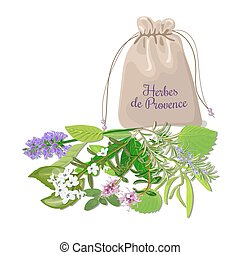 Herbes de provence sachet mix. Swatch pouch with herbs....