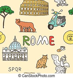 Color pattern set of Rome symbols - Cheerful color pattern...