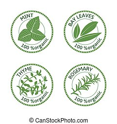 Set of herbs labels. 100 organic. Vector illustration
