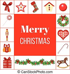 Christmas greeting card with different symbols.