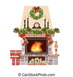 Christmas fireplace. Xmas decoreated room - Flaming...