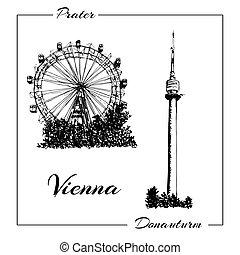 Vienna prater and donauturm.