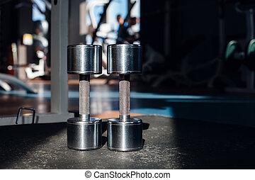 Dumb bells - Steel dumb bells on the floor in the gym