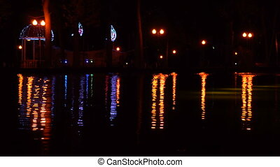 Night scene with night lights in the park