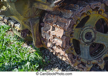 Caterpillar chain of the old tank. Museum of military equipment in the open air