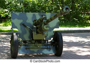 cañón, artillería, verde