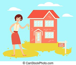 Realtor - Woman realtor holding house key. Vector...
